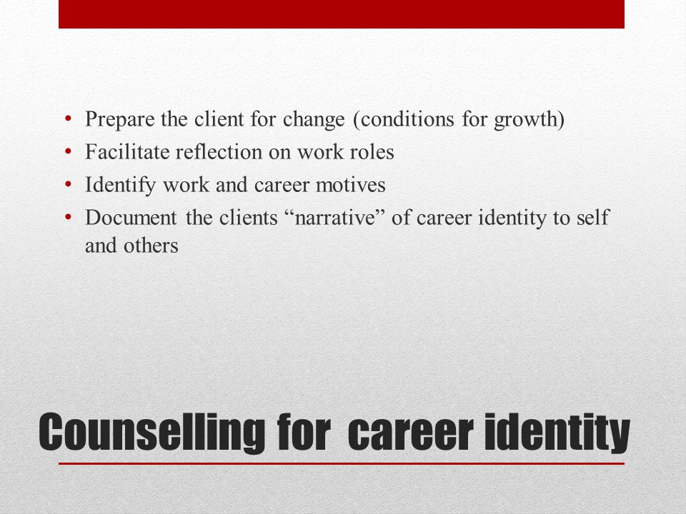 Counselling for career identity