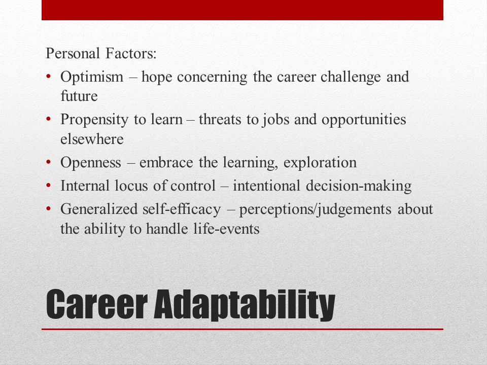 Career Adaptability Personal Factors: