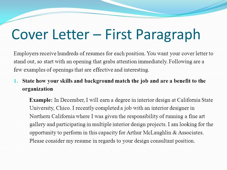 Career project part iii ppt video online download for Cover letter intro paragraph examples