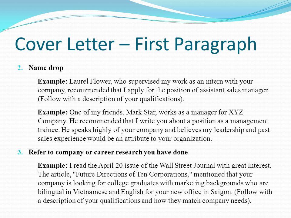 2 Paragraph Cover Letter 2 Paragraph Essay Market Research