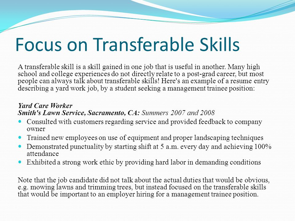 Focus On Transferable Skills  Transferable Skills Resume