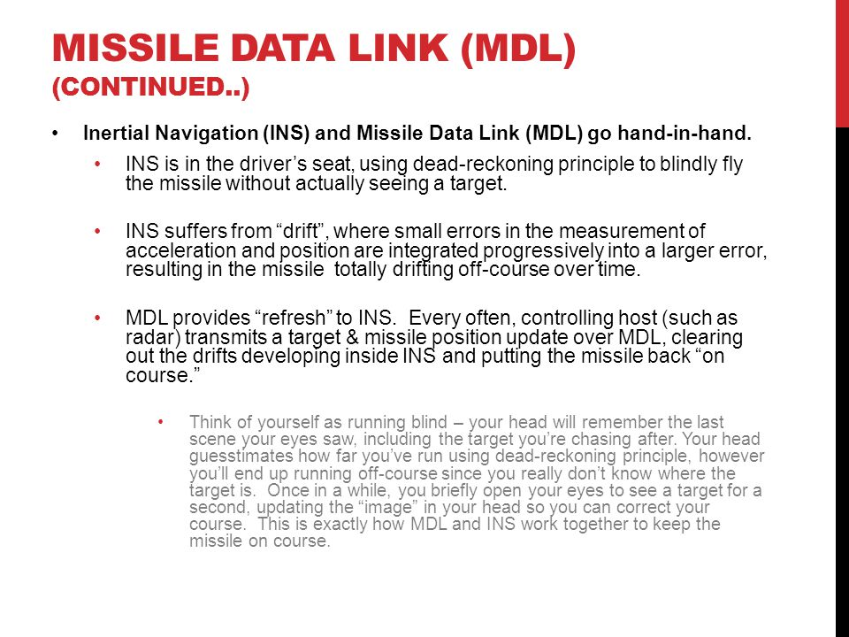 MISSILE DATA LINK (MDL) (Continued..)