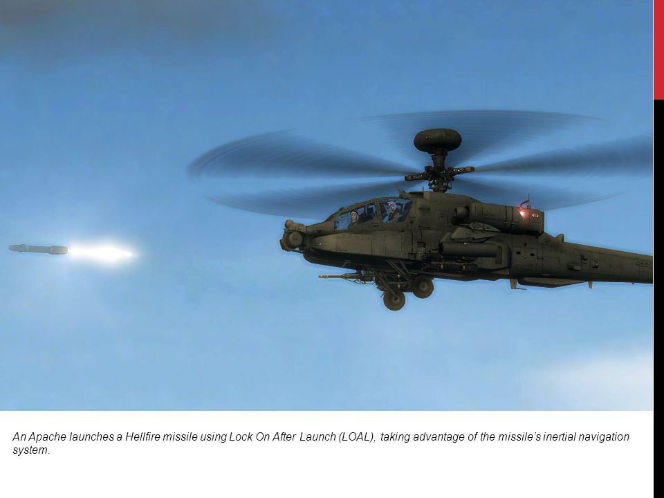 An Apache launches a Hellfire missile using Lock On After Launch (LOAL), taking advantage of the missile's inertial navigation system.