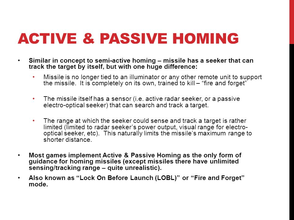 ACTIVE & PASSIVE HOMING