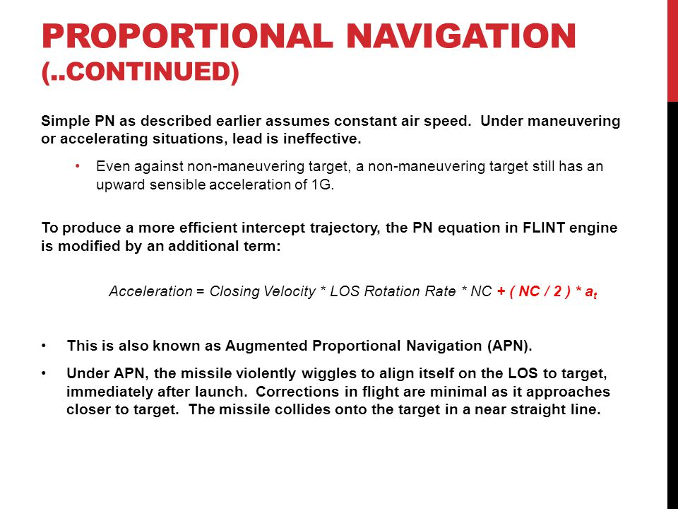 Proportional navigation (..continued)