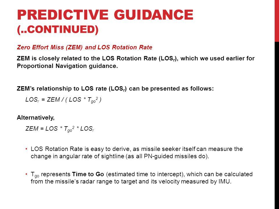 PREDICTIVE GUIDANCE (..continued)