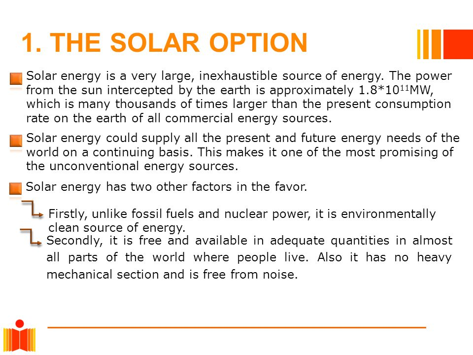 1. THE SOLAR OPTION