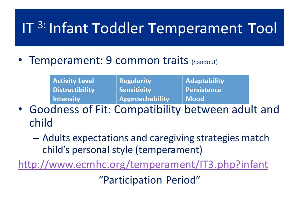 IT 3: Infant Toddler Temperament Tool