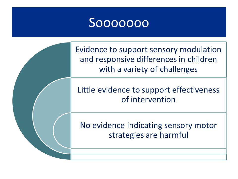 Sooooooo Evidence to support sensory modulation and responsive differences in children with a variety of challenges.
