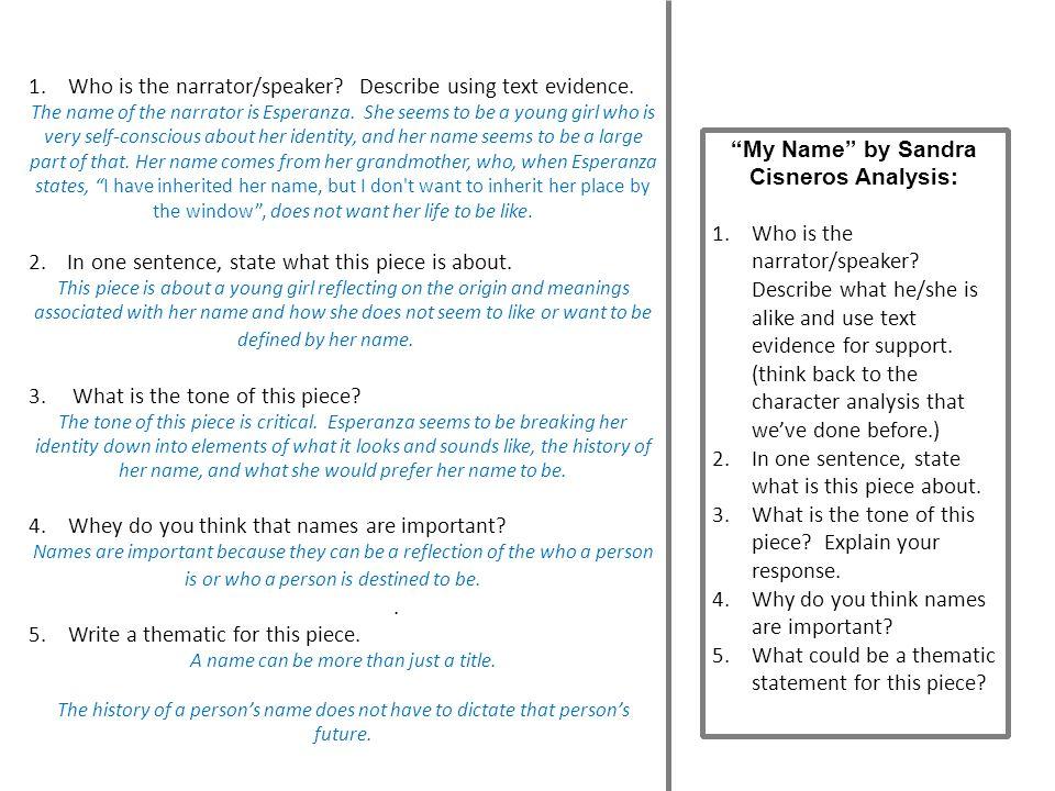 My Name by Sandra Cisneros Analysis:
