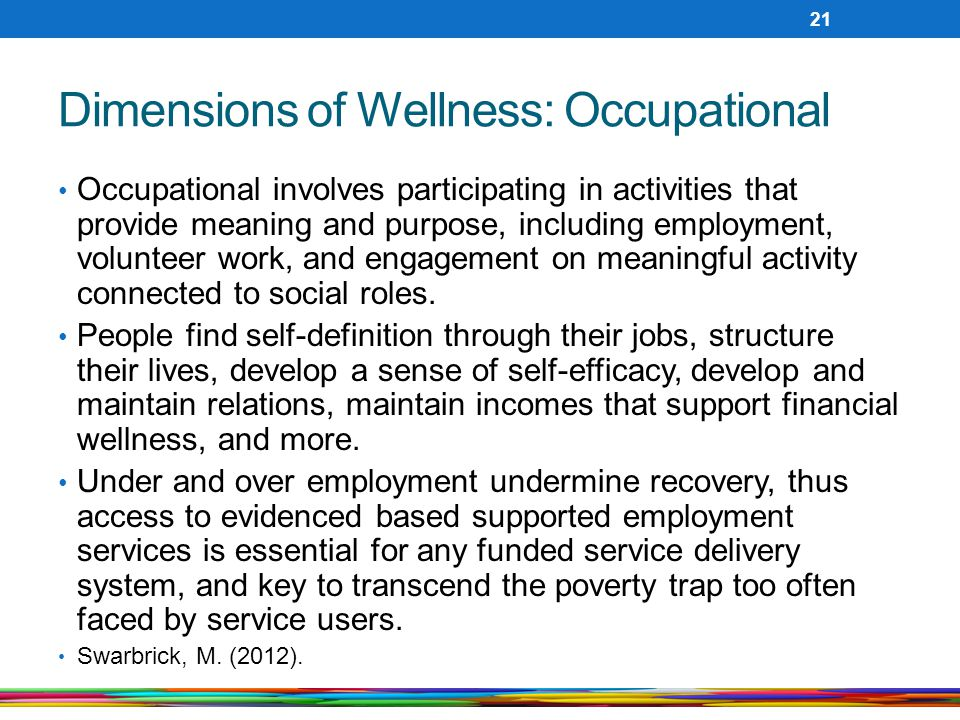 Dimensions of Wellness: Occupational