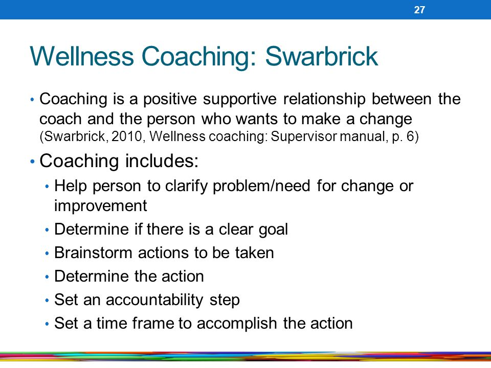 Wellness Coaching: Swarbrick