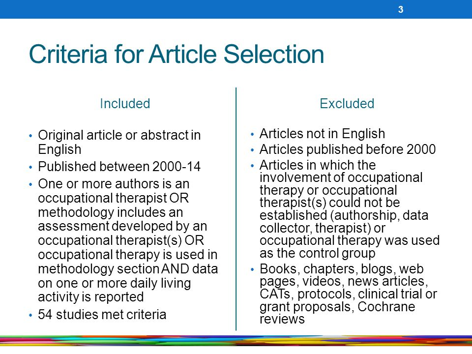 Criteria for Article Selection