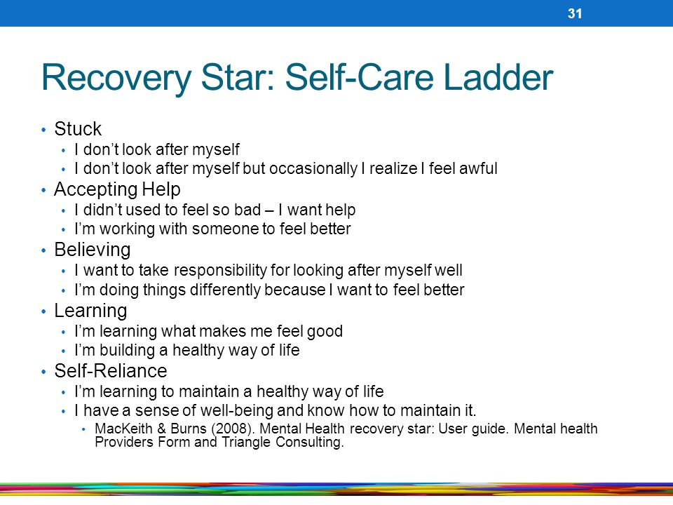 Recovery Star: Self-Care Ladder