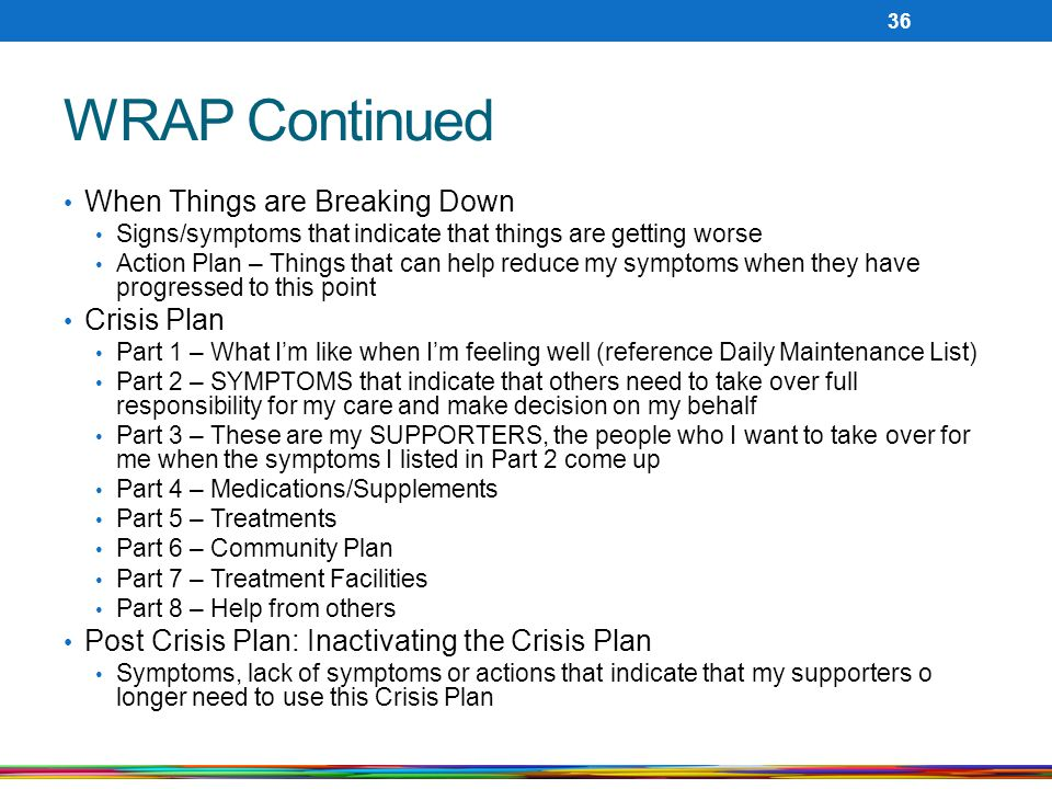 WRAP Continued When Things are Breaking Down Crisis Plan