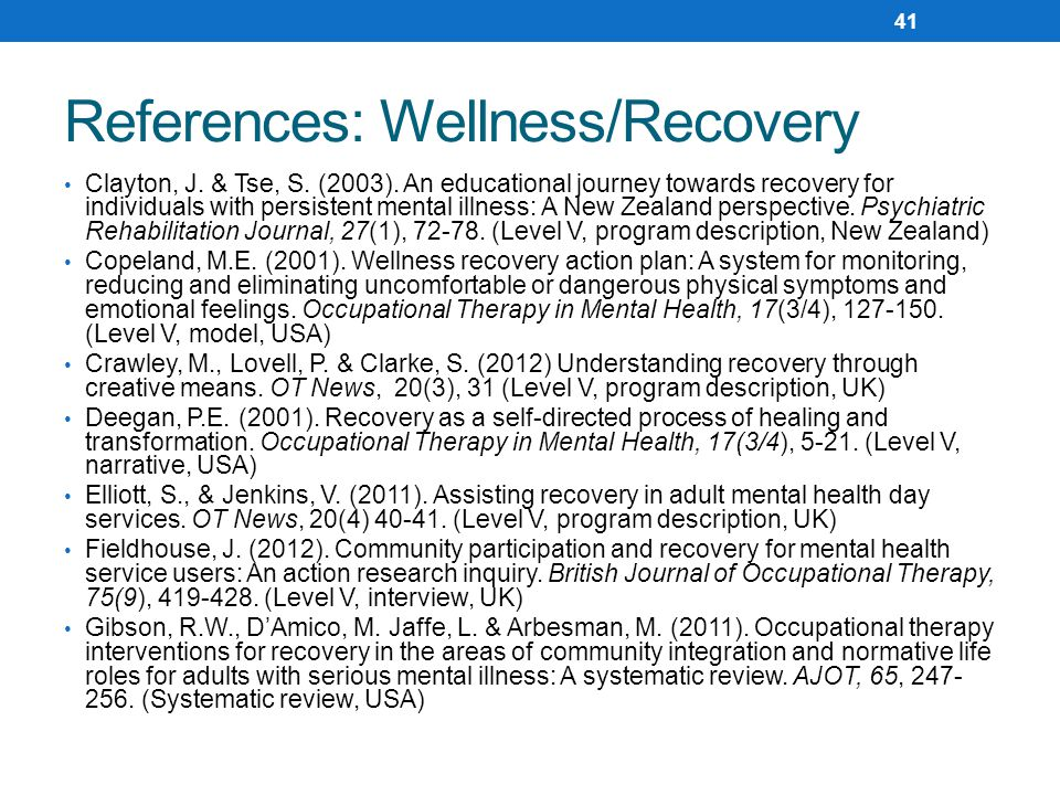 References: Wellness/Recovery