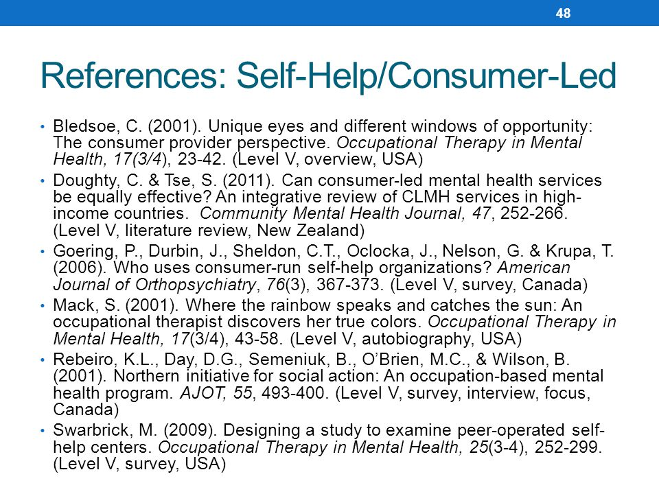 References: Self-Help/Consumer-Led