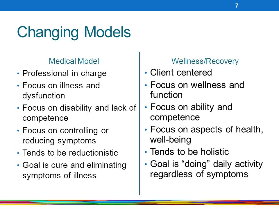Changing Models Client centered Focus on wellness and function