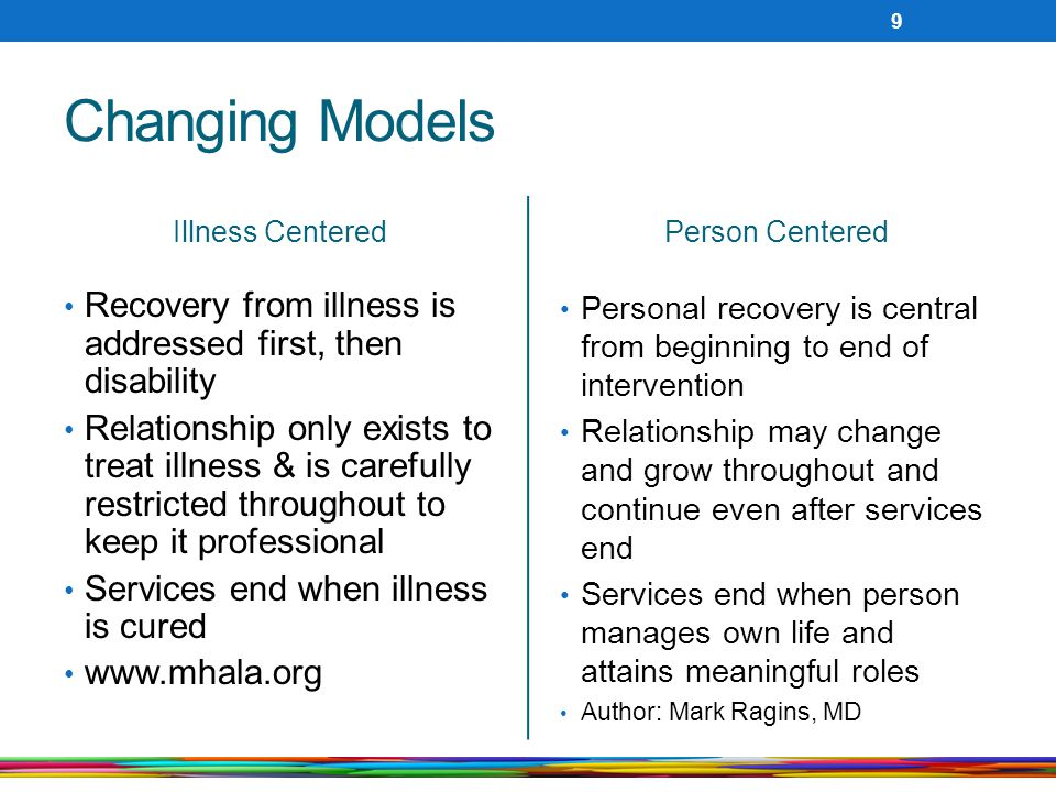 Changing Models Illness Centered. Person Centered. Recovery from illness is addressed first, then disability.
