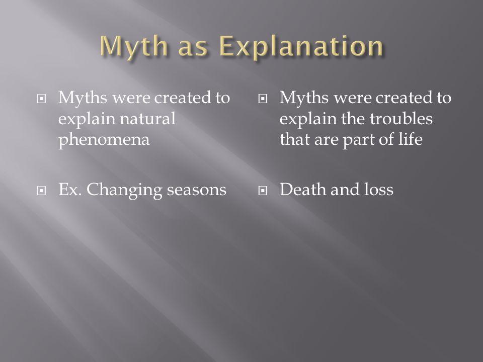 Myth as Explanation Myths were created to explain natural phenomena