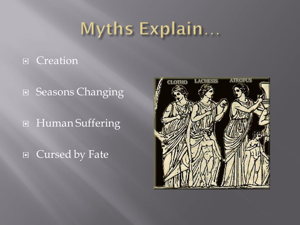 Myths Explain… Creation Seasons Changing Human Suffering