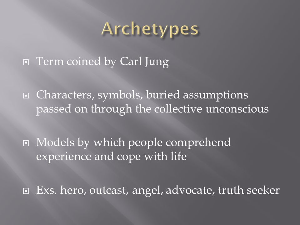 Archetypes Term coined by Carl Jung