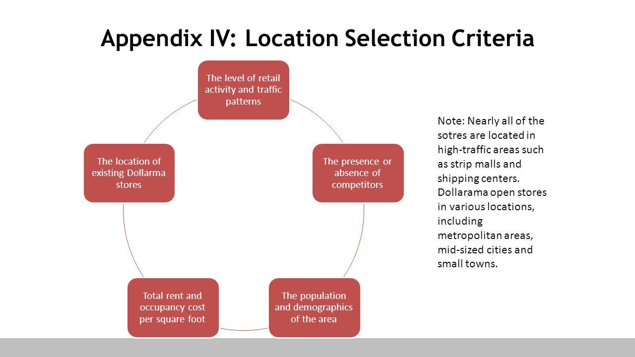 Appendix IV: Location Selection Criteria