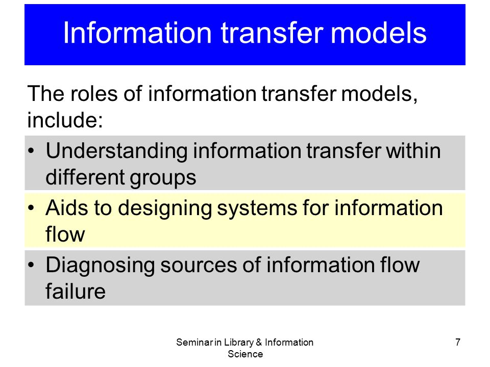 Information transfer models