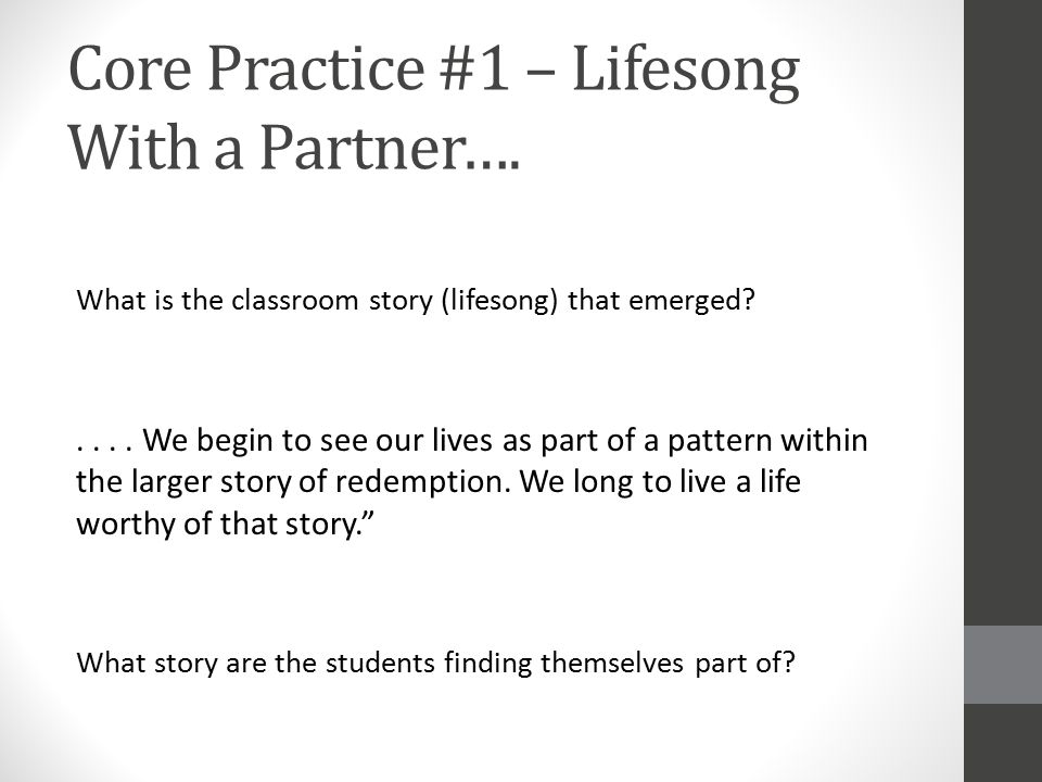 Core Practice #1 – Lifesong With a Partner….