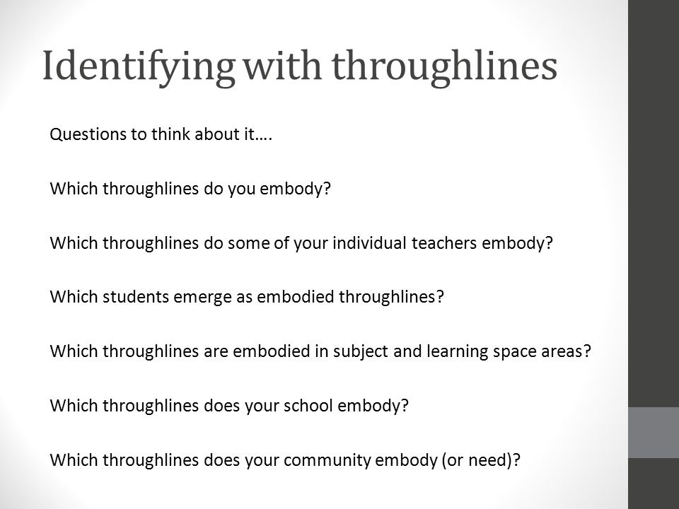 Identifying with throughlines