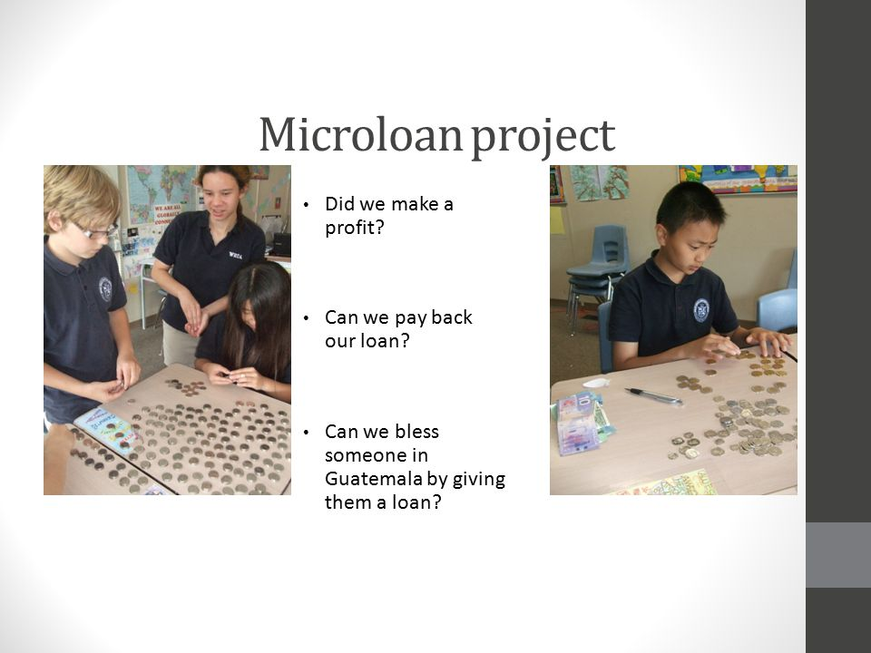 Microloan project Did we make a profit Can we pay back our loan