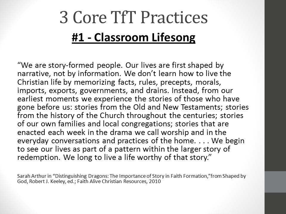 3 Core TfT Practices #1 - Classroom Lifesong