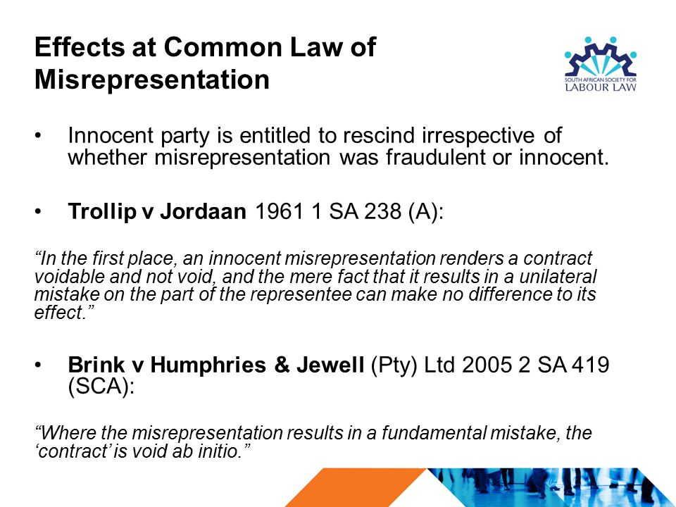 Effects at Common Law of Misrepresentation