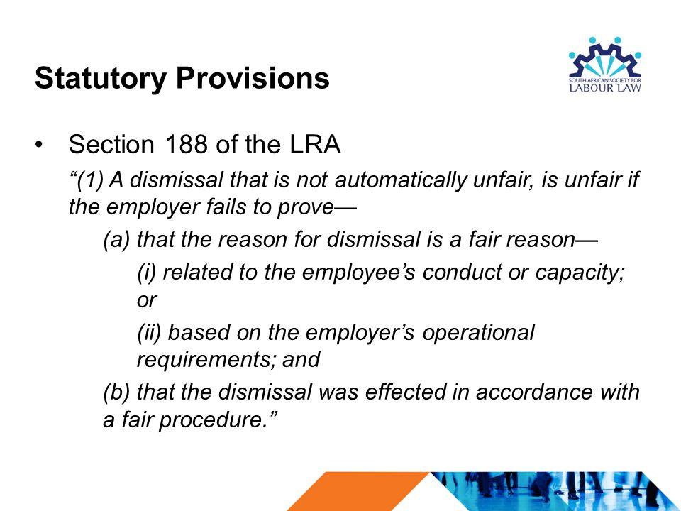 Statutory Provisions Section 188 of the LRA