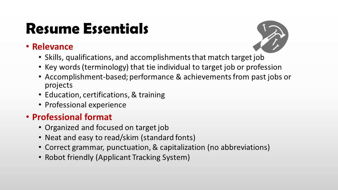 Resume Essentials Relevance Professional format