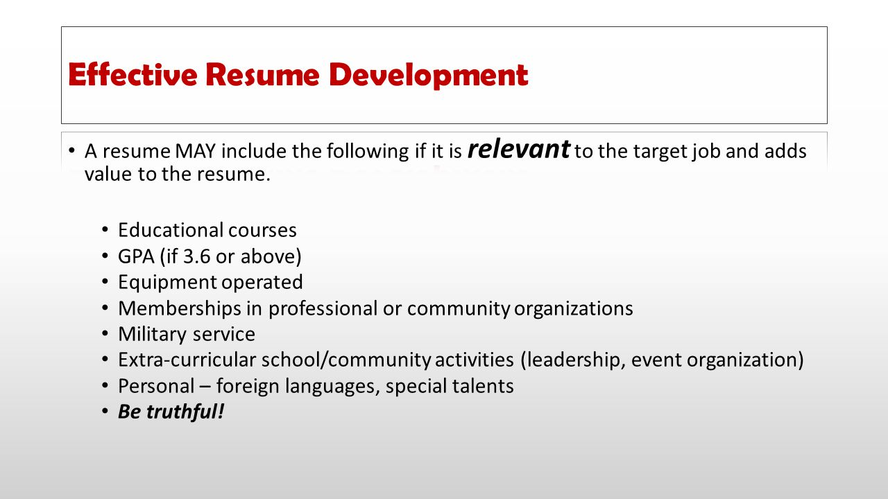 Effective Resume Development