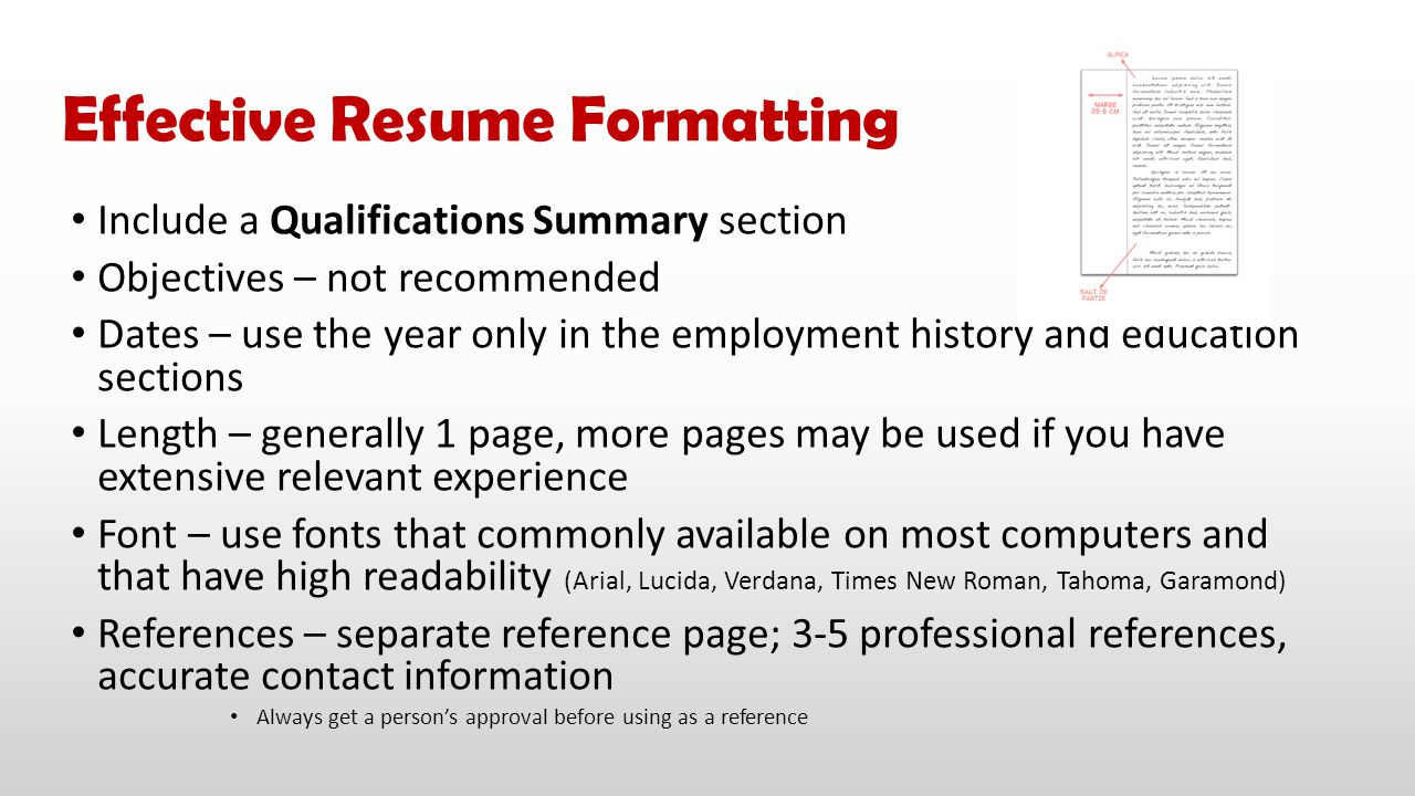 Effective Resume Formatting