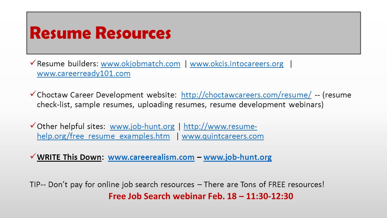 Free Job Search webinar Feb. 18 – 11:30-12:30