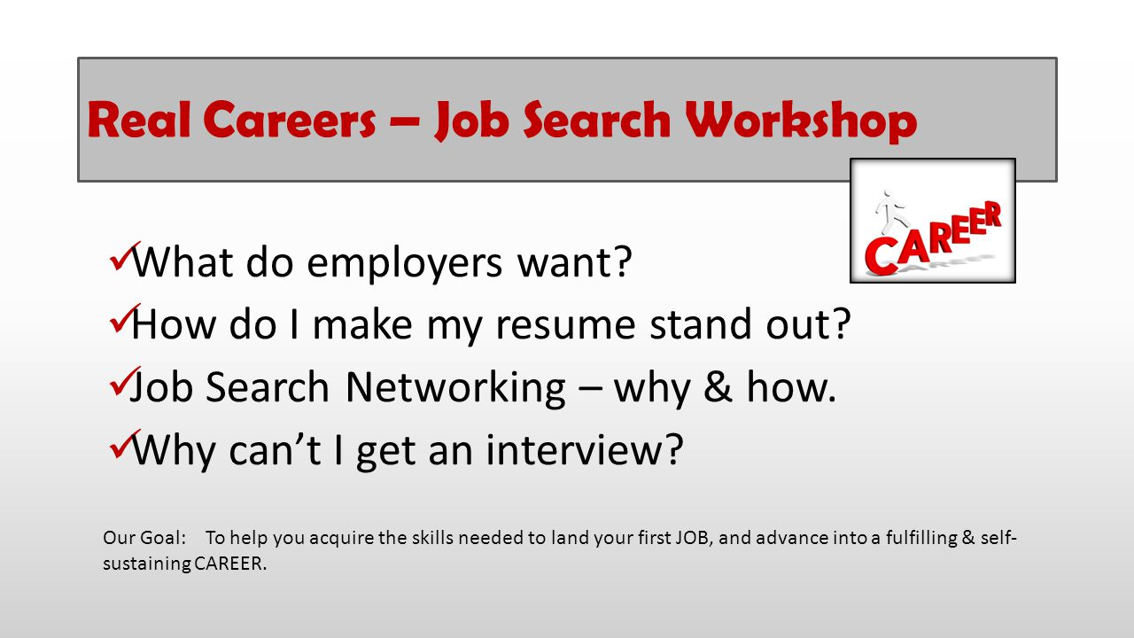 Real Careers – Job Search Workshop