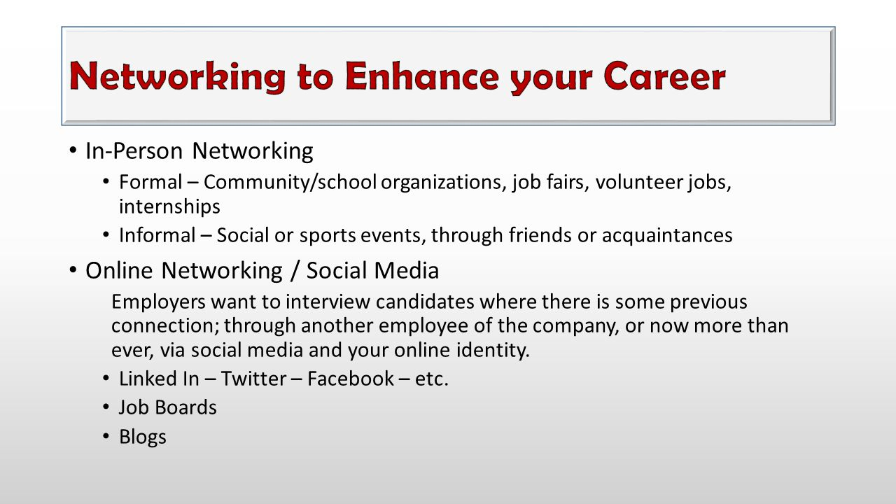 Networking to Enhance your Career