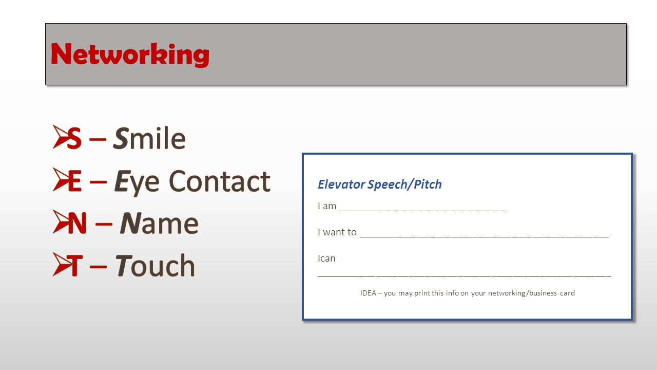 IDEA – you may print this info on your networking/business card