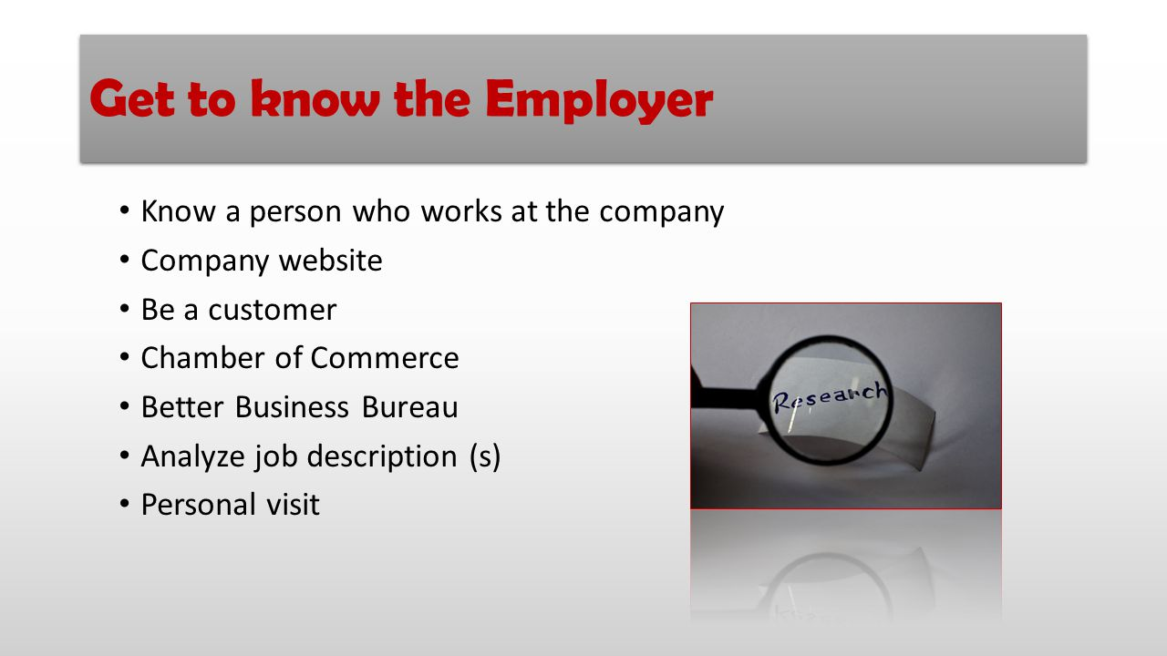 Get to know the Employer