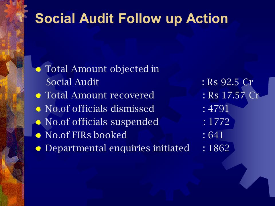 Social Audit Follow up Action