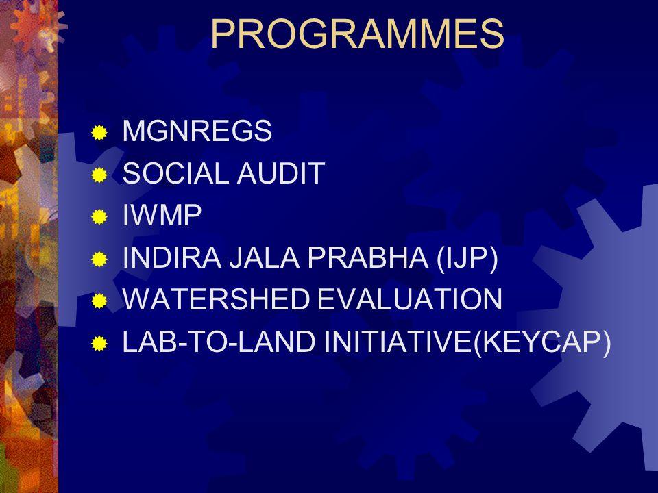 PROGRAMMES MGNREGS SOCIAL AUDIT IWMP INDIRA JALA PRABHA (IJP)