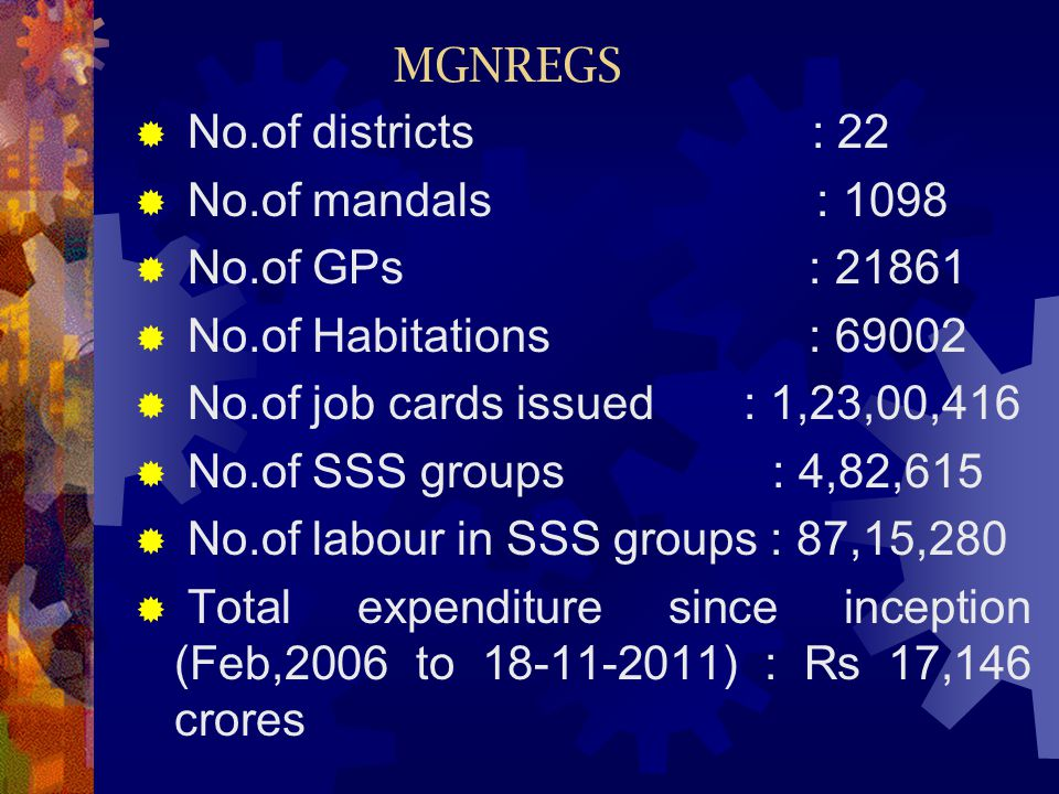 MGNREGS No.of districts : 22. No.of mandals : 1098.