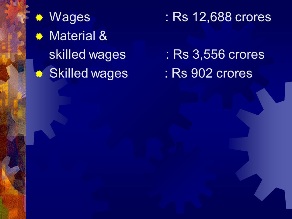 Wages : Rs 12,688 crores Material & skilled wages : Rs 3,556 crores.