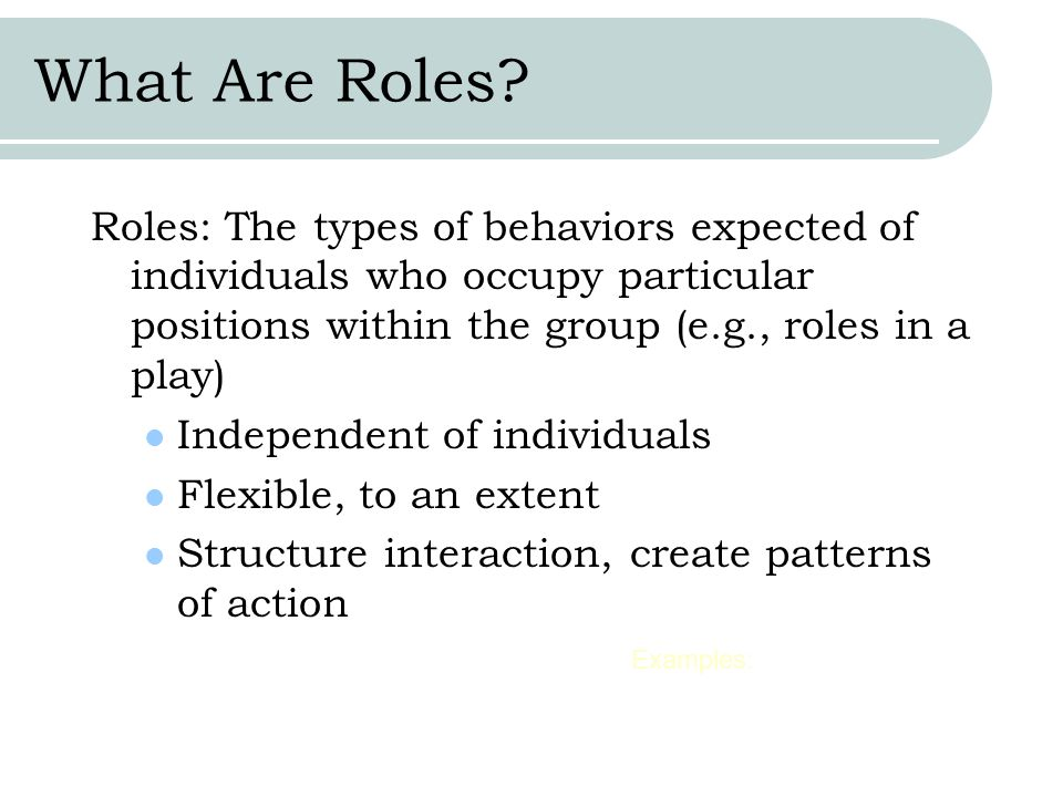 What Are Roles Roles: The types of behaviors expected of individuals who occupy particular positions within the group (e.g., roles in a play)