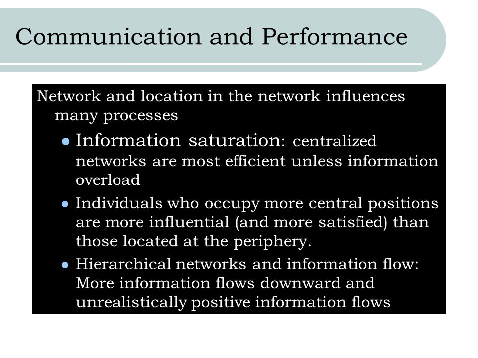 Communication and Performance