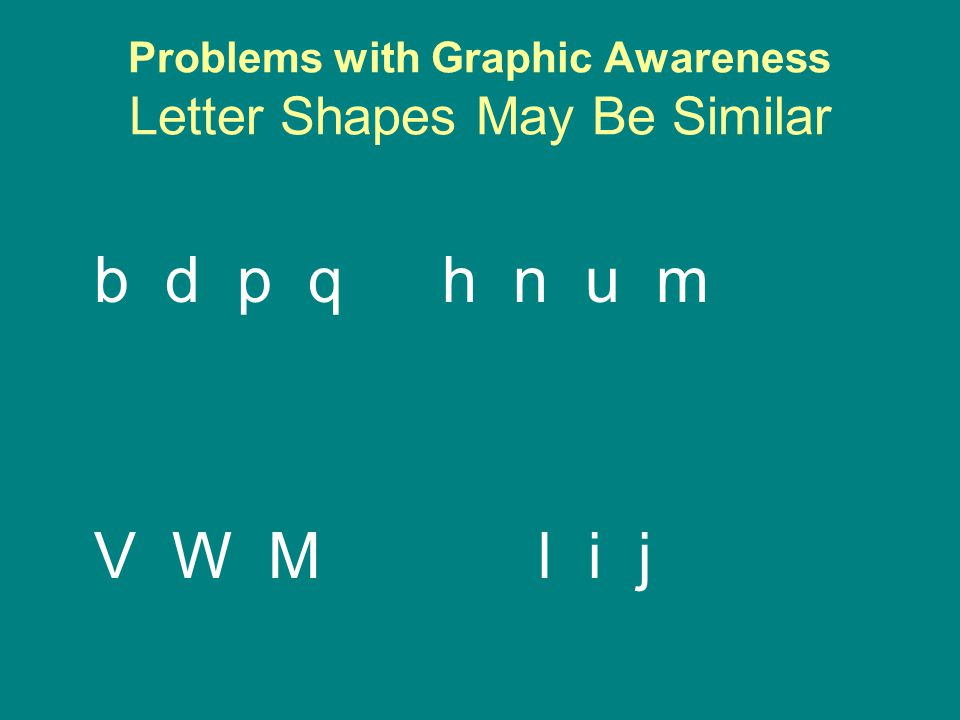 Problems with Graphic Awareness Letter Shapes May Be Similar