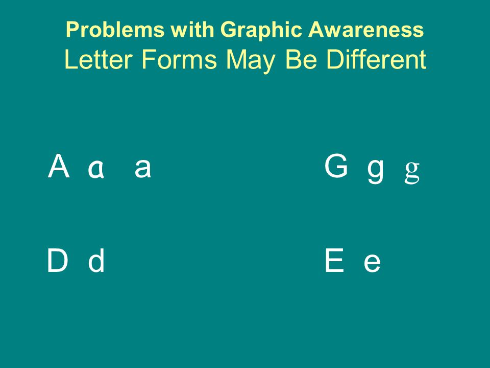 Problems with Graphic Awareness Letter Forms May Be Different